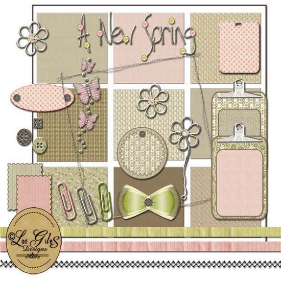 A New Spring - Digital Scrapbooking Kit - It's Free! : Vintage Nest Designs, Creative Handmade and Hand Painted