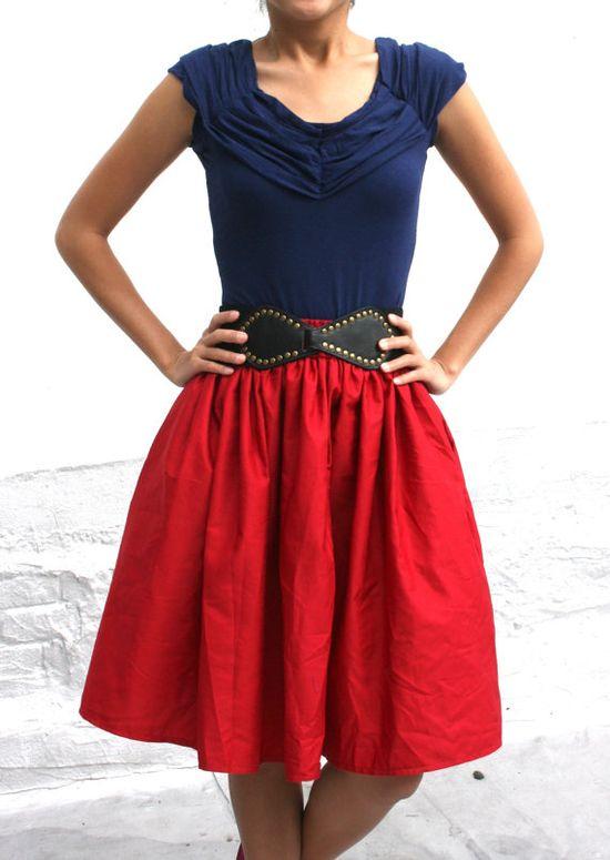Full A line Red Womens Skirt.  Pretty pretty!