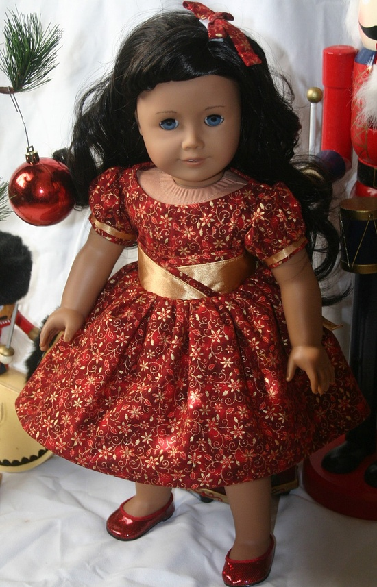 Silver Screen Christmas dress in red and gold for your 18 inch american girl or similar doll, Dress, , and hair bow