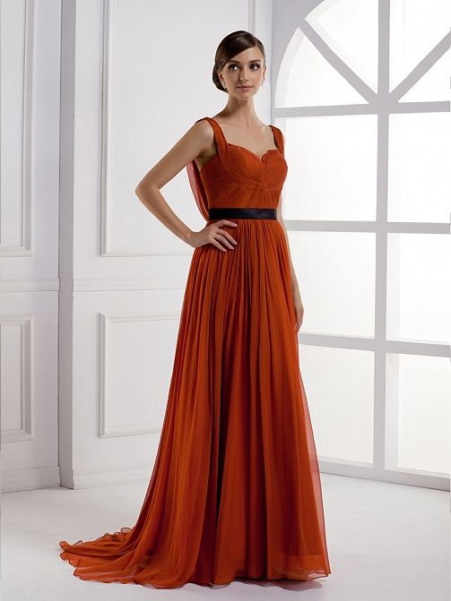 Sweetheart A-line silk chiffon women dress