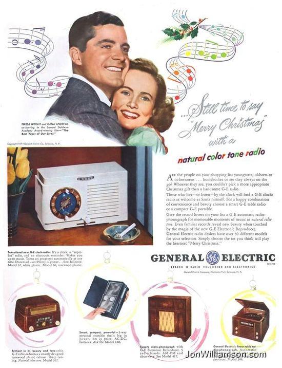 Vintage GE Radio ad #Christmas #vintage #ad