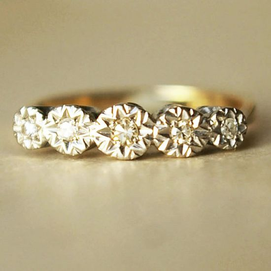 Five Diamond Wedding Ring Vintage 18k by luxedeluxe