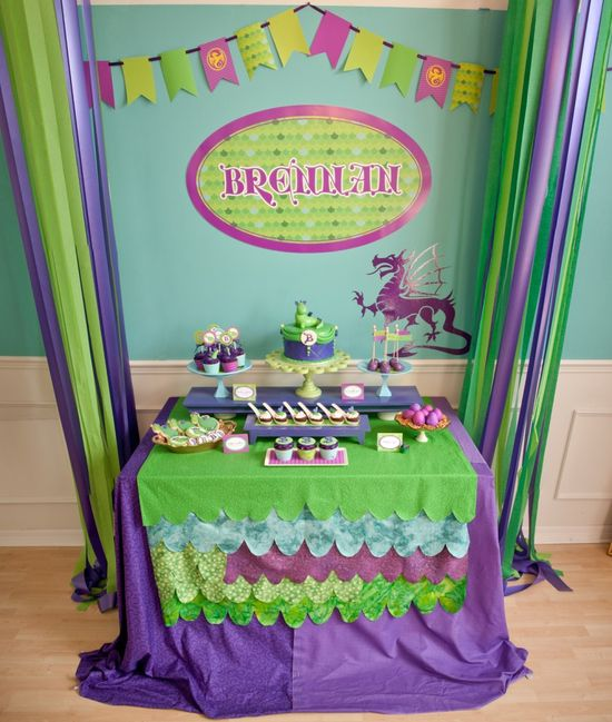 Puff the magic dragon birthday party dessert table. #birthday #party