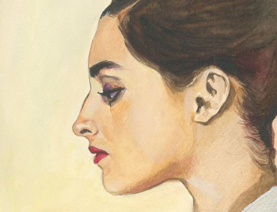 Giulietta  original gouache painting   portrait by OhLaLaGalerie, $150.00