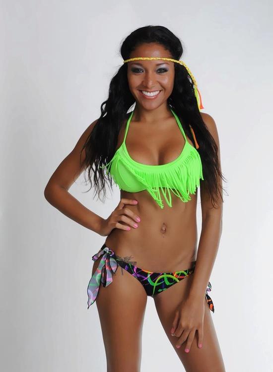 Neon Green Fringe Bikini