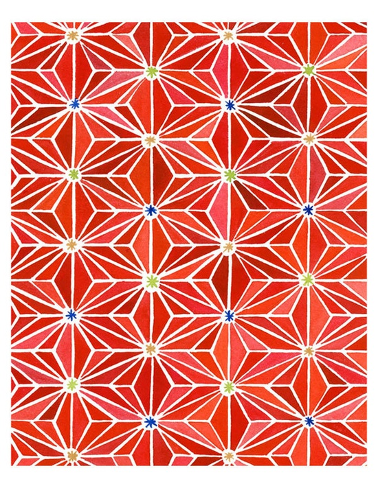 Also love Yao Cheng's Red Geometric Origami Pattern Painting. $15.00, via Etsy.
