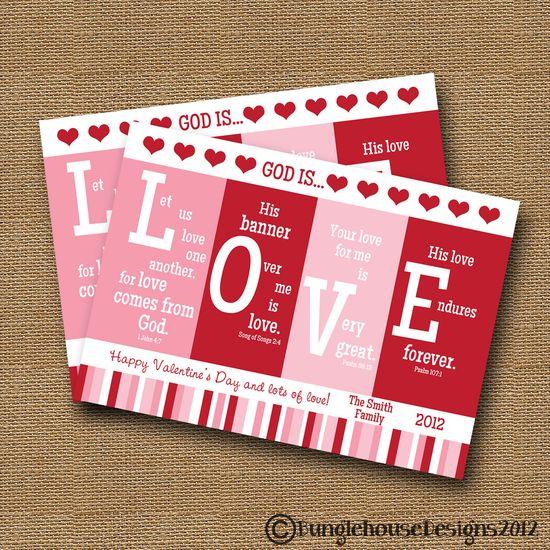 "Valentine PRINTABLE DIY ""God is LOVE"" Scripture Bible Verse Valentines Card. Etsy."