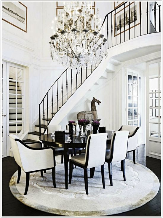 Black and white dining room, crystal chandelier