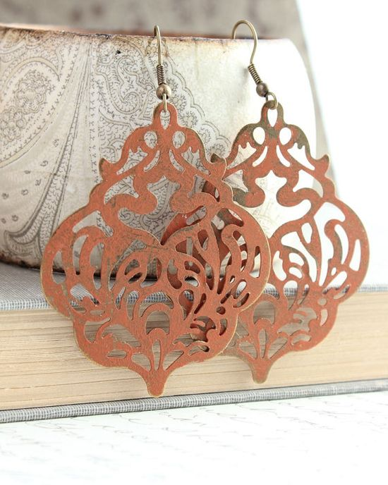 Orange Patina Earrings Filigree Dangle Earrings by apocketofposies
