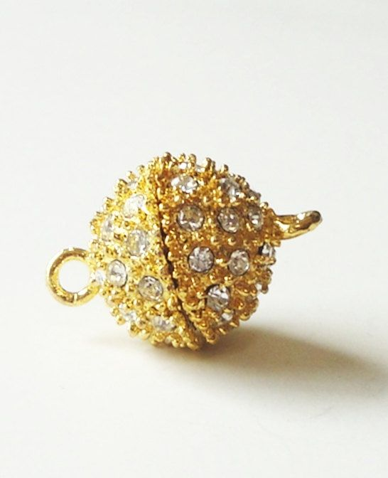Gold Round Crystalized Magnetic Clasp 14mm OR 16mm 2 by BijiBijoux, $13.00