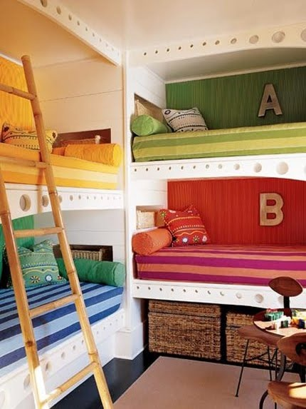 add cutains to each bunk and you have a train sleeper car. Why do kids need their own rooms? Share and use extra rooms for a home office, guest room or play room.