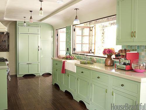 Mint kitchen. Design: Kathryn M. Ireland. housebeautiful.com. #kitchen #mint #green #color