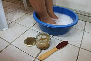 how to make a foot spa at home  Set up a bowl of warm water. Add some scented bu