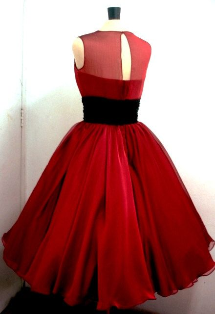 A 50s ruby red chiffon rock ability Cocktail dress Custom. $265.00, via Etsy.