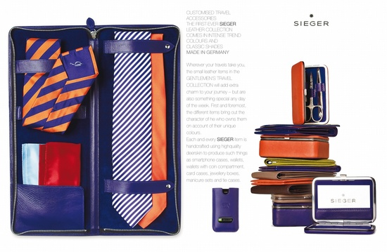 Customised travel accessories    The first-ever SIEGER leather collection comes in intense trend colours and classics shades