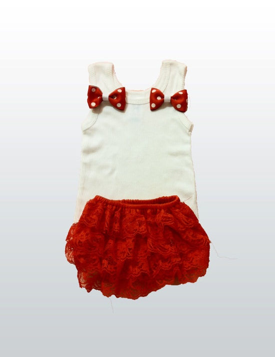 Baby Girl Tank Top and Hair Bow with Red & white polka by itsyglam, $19.99