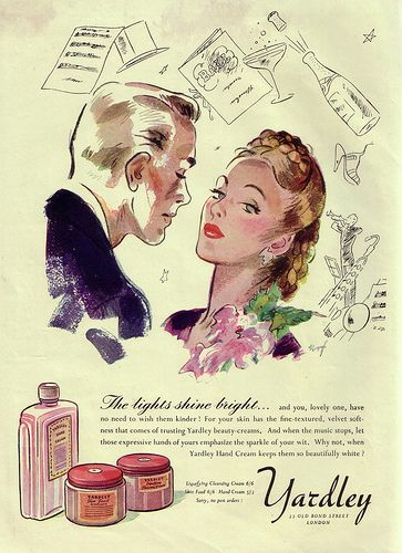 Charm and elegance collide in this lovely 1940s ad for Yardley hand cream (love her braided hairdo!). #vintage #ad #beauty #products #1940s #hair #purple