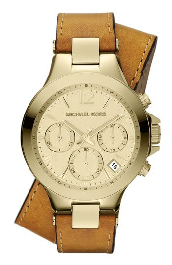 Michael Kors 'Peyton' Double Wrap Leather Strap Watch available at #Nordstrom