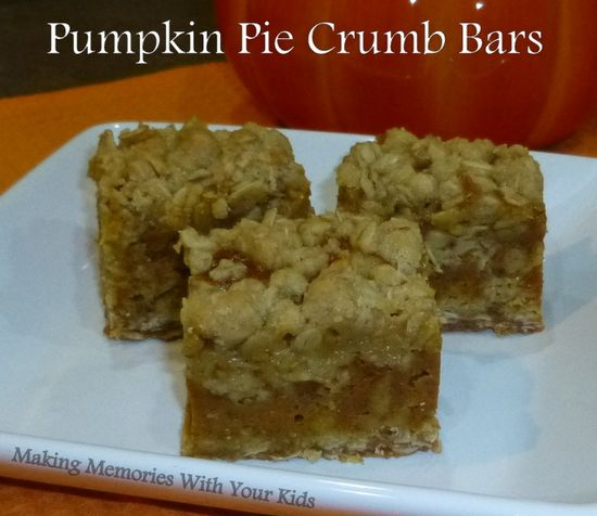 pumpkin pie crumb bars - a delicious oatmeal cookie stuffed with pumpkin pie!  Heavenly!