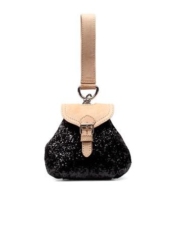 glitter handbag with bracelet strap