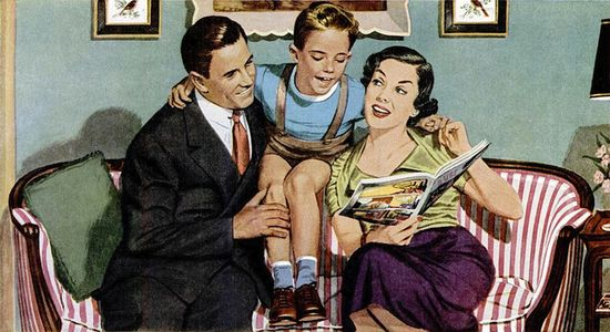 A heartwarming moment of 1950s family time. #parents #mom #dad #child #son #vintage #ad #1950s #family