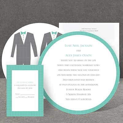 Patterned Tuxes I Same Sex Wedding Invitation I Choose from over 40 colors! We love this invite!!!