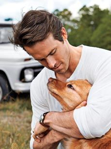 Ryan Reynolds with his dog Baxter.