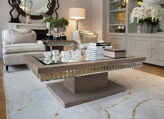 Luxe Designer Shagreen Leather  Tiffany Mirror Coffee Table sharing beautiful designer home decor inspirations: luxury living room, dinning room & bedroom furniture, chandeliers, table lamps, mirrors, wall art, decorative tabletop & bathroom     accents & gifts courtesy of instyle-decor.com Beverly Hills enjoy & happy pinning