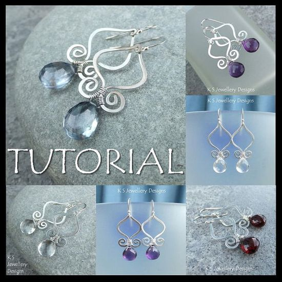 Wire Jewelry Tutorial - GENIE DROPS (Earrings) - Step by Step Wire Wrapping Wirework Instructions - Instant Download