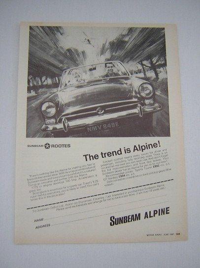 =-=Original Sunbeam Alpine Advert from 1967 - Classic Sports Car Ad Advertisement