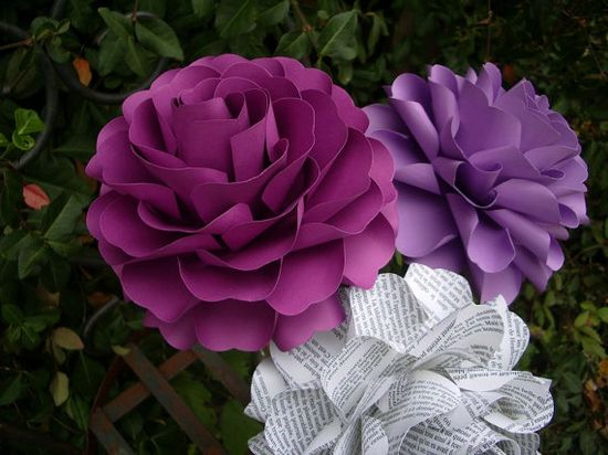 Large  Handmade Paper Flowers    --  by DragonflyExpression
