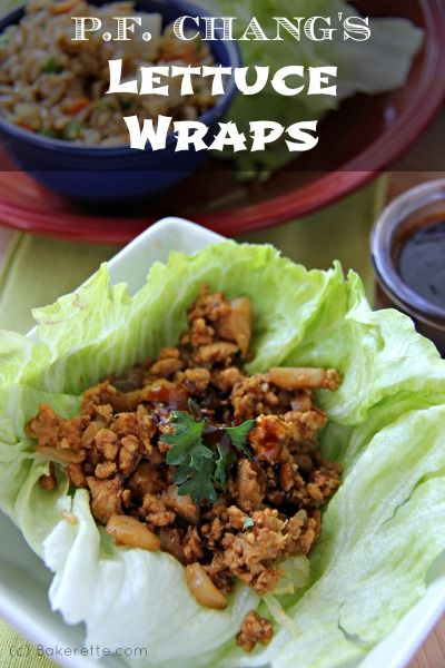 A 5-star  recipe for P.F. Chang's Chicken Lettuce Wraps. Why go out to eat when you can get the best of P.F. Chang's at home. Bakerette.com