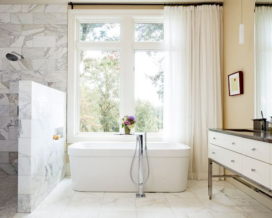 Transitional #bathroom #design with beautiful #marble open #shower