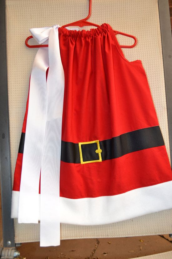 Mrs. Santa Claus Christmas pillowcase dress.