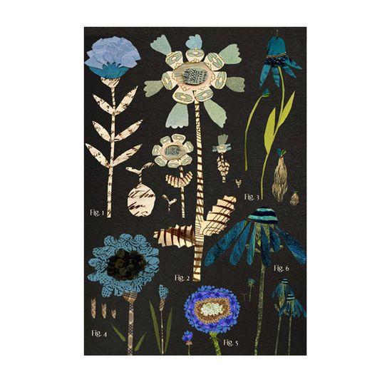 large botanical chart blue variations mixed by susanfarrington, $30.00