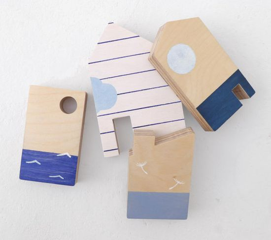 Baby toy wooden little houses ecofriendly by TheWanderingWorkshop on etsy