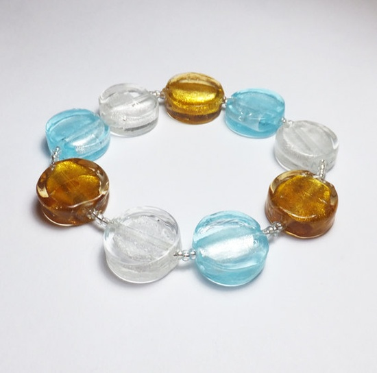 Silver Gold and Blue Glass Beadwork Stretch Bracelet by tzteja, $8.00