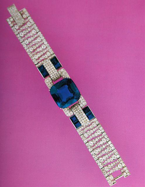 Cartier New York Art Deco Diamond Sapphire Bracelet