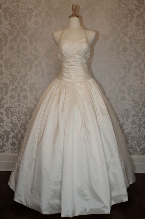 Halter neck empire waist ball gown wedding dress