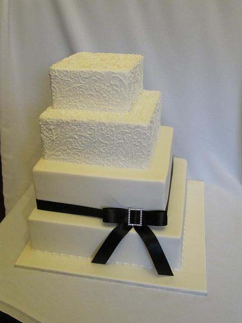 square ivory lace wedding cake