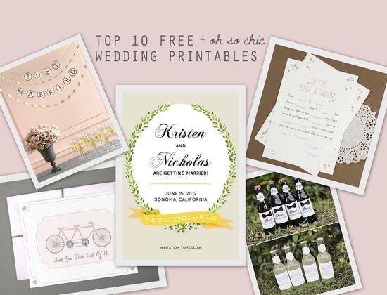 Top 10 Free Wedding Printables