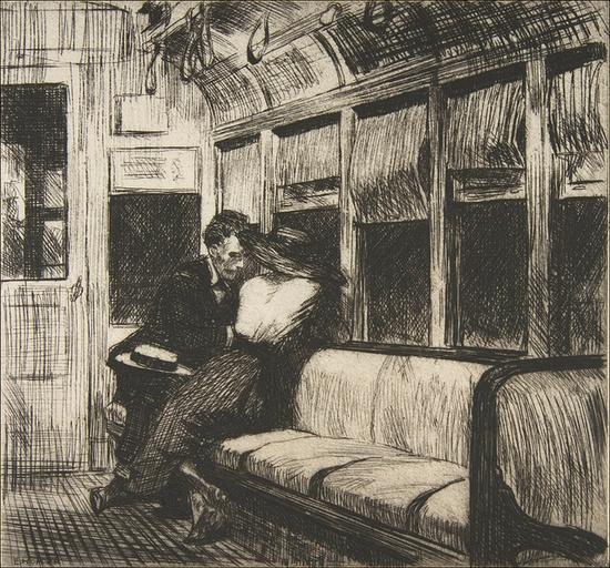 Night on the El Train, Edward Hopper, etching