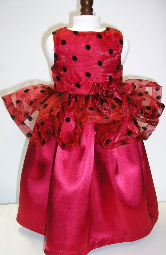 Red polka dot fancy dress for 18 dolls like by NanaJerrisCreations, $18.00
