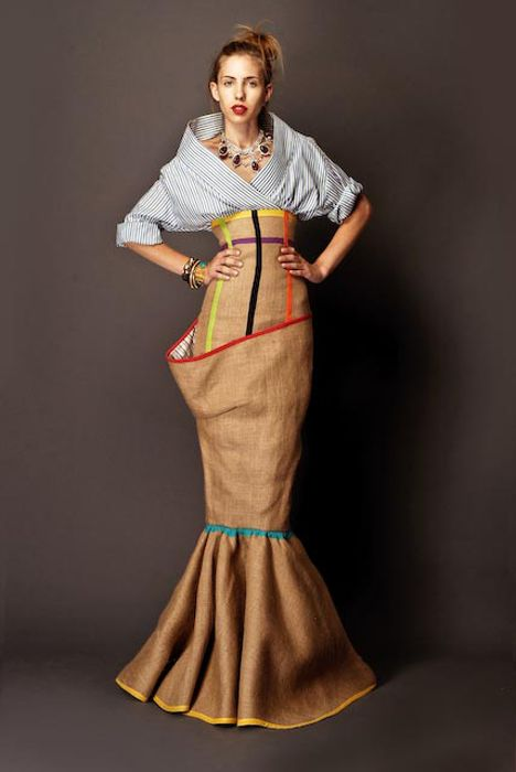 Stella Jean S/S 2012 African Inspired Collection    @Martha McIntosh: you have any burlap left? i need a modified version of this skirt.