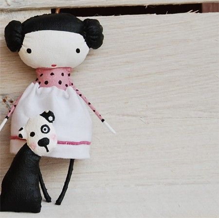 Little Doll with dogs by mirianata (painted fabric)