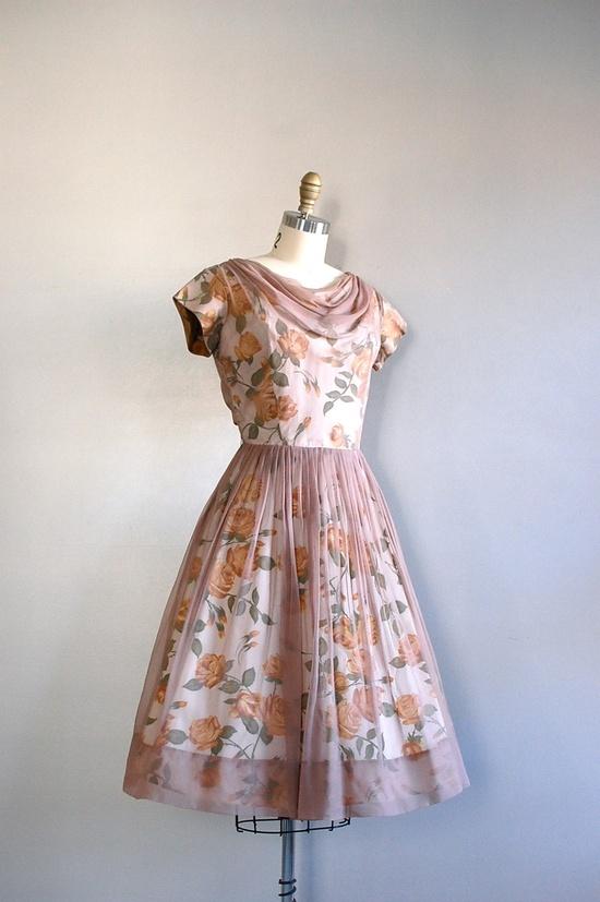vintage 1950s Doucette chiffon party dress