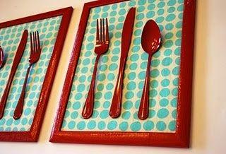 simple kitchen art. Spray painted utensils!