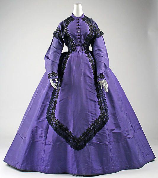 Dress, Visiting  Date: 1863–65 Culture: American Medium: silk, cotton, glass