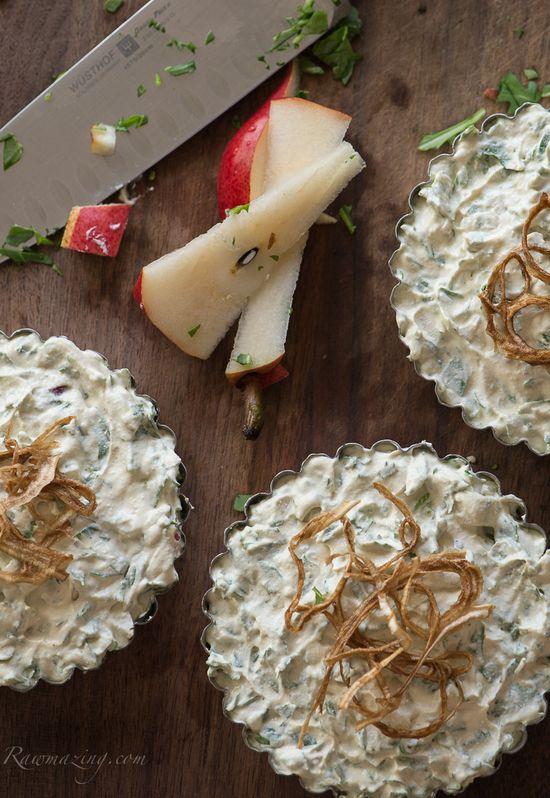 Pear Arugula Tarts: a tasty savory tart with a hint of sweet (raw, vegan).
