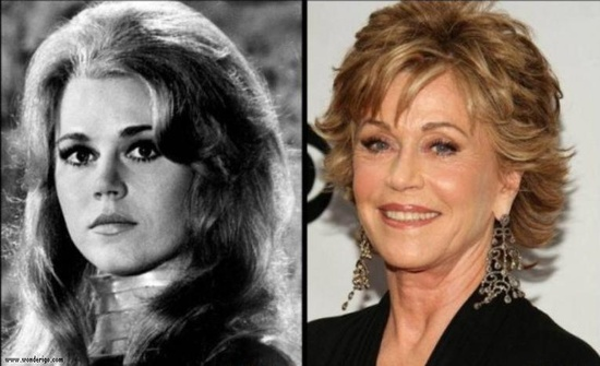 """Image gallery of 20 celebrities """"then and now"""" photos ... shown, Jane Fonda"""